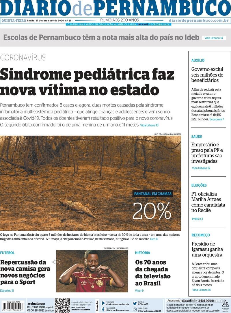 Capa do jornal Diario de Pernambuco 17/09/2020