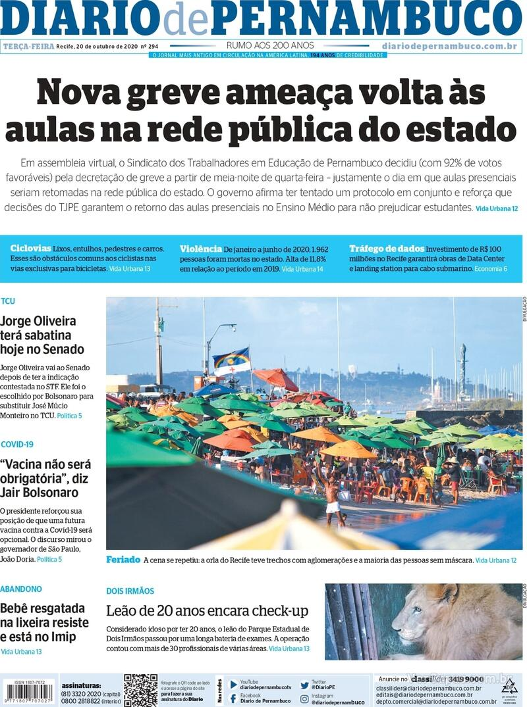 Capa do jornal Diario de Pernambuco 20/10/2020