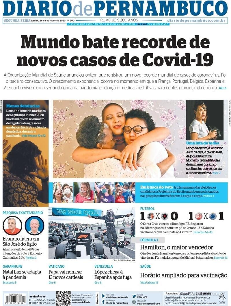 Capa do jornal Diario de Pernambuco 26/10/2020