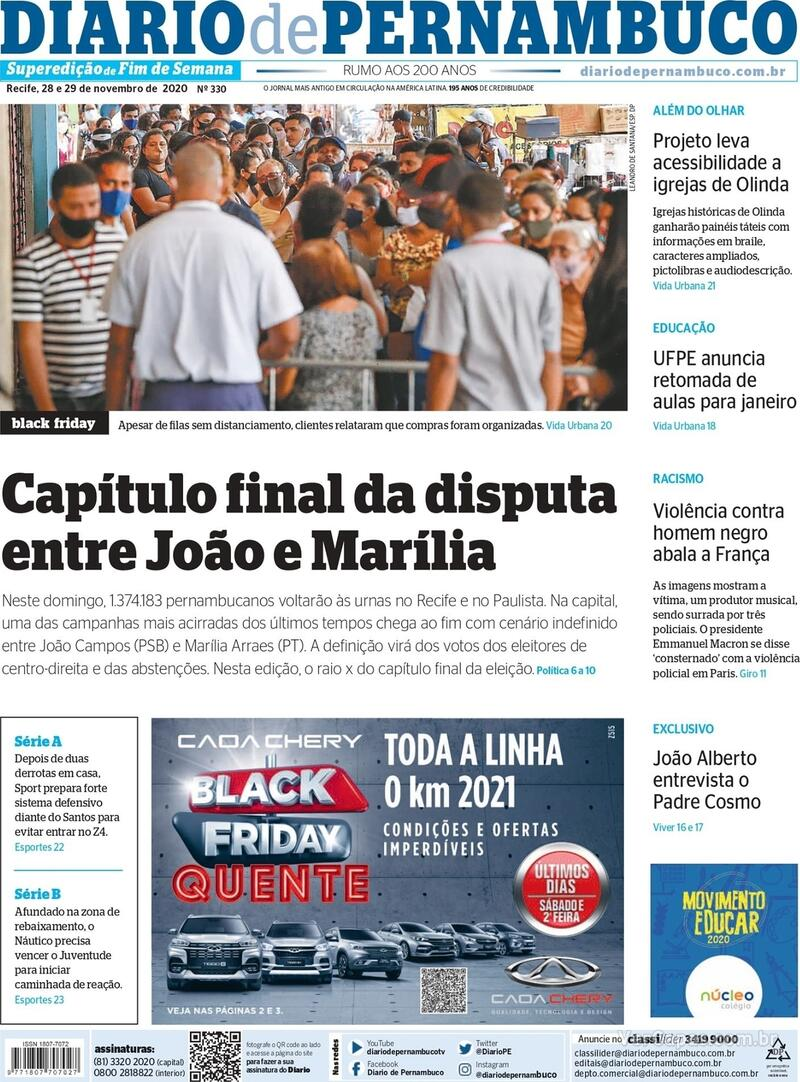 Capa do jornal Diario de Pernambuco 28/11/2020