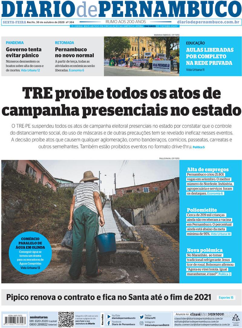 Capa do jornal Diario de Pernambuco 30/10/2020
