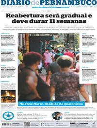Capa do jornal Diario de Pernambuco 29/05/2020