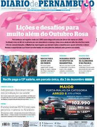Capa do jornal Diario de Pernambuco 29/10/2020