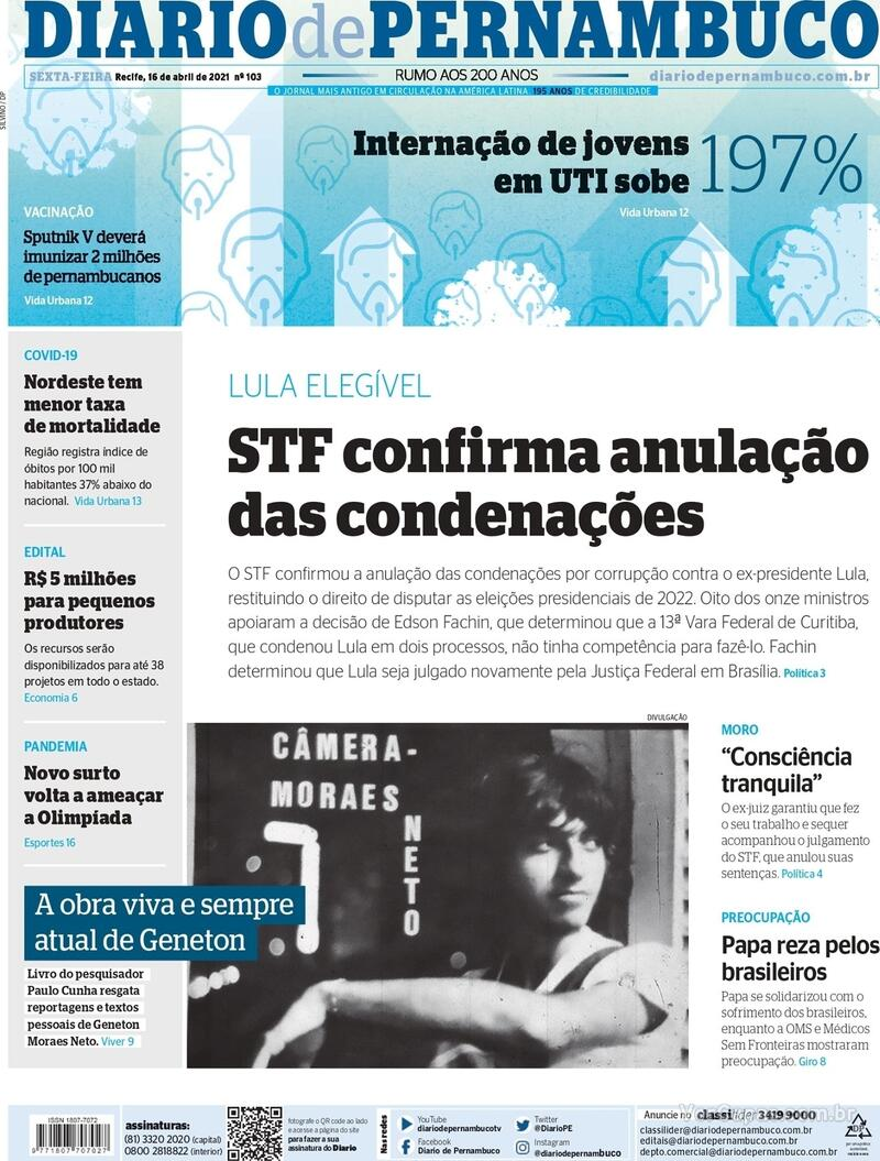Capa do jornal Diario de Pernambuco 16/04/2021