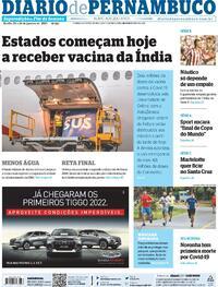 Capa do jornal Diario de Pernambuco 23/01/2021