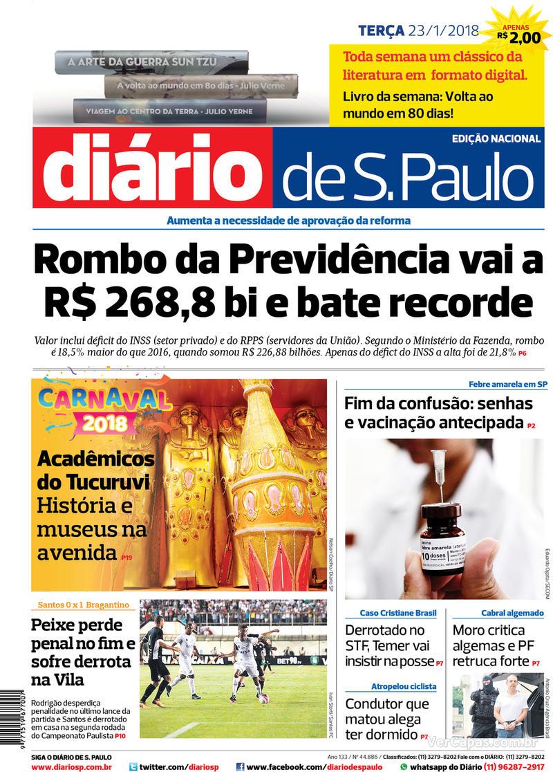 Capa Diário de São Paulo 2018-01-23