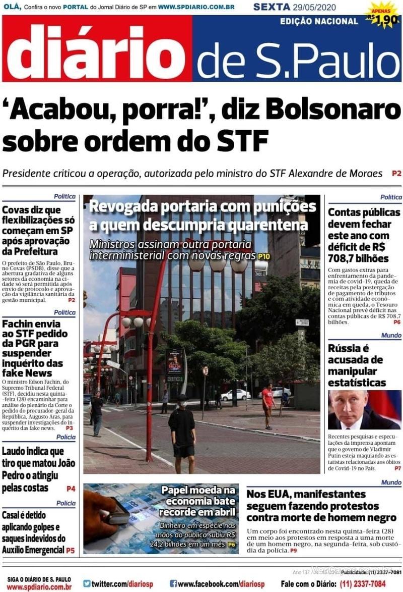 Capa do jornal Diário de São Paulo 29/05/2020