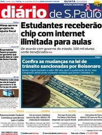 Capa do jornal Diário de São Paulo 15/10/2020