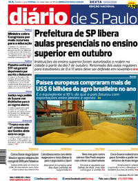 Capa do jornal Diário de São Paulo 19/09/2020