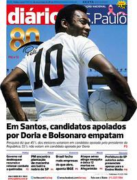 Capa do jornal Diário de São Paulo 23/10/2020