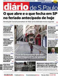 Capa do jornal Diário de São Paulo 25/05/2020