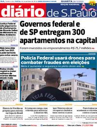 Capa do jornal Diário de São Paulo 28/10/2020