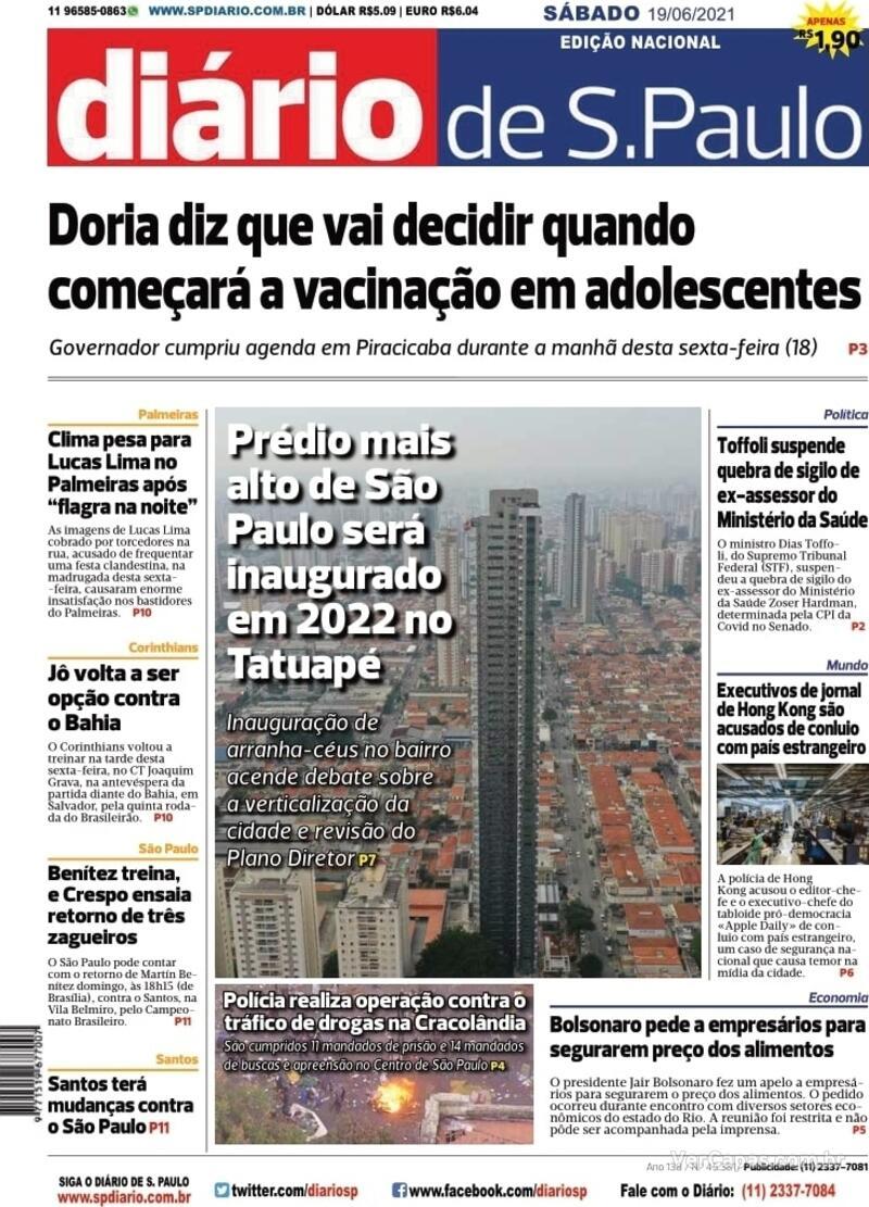 Capa do jornal Diário de São Paulo 19/06/2021
