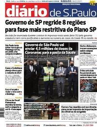 Capa do jornal Diário de São Paulo 16/01/2021