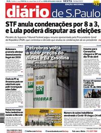 Capa do jornal Diário de São Paulo 16/04/2021