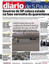 Capa do jornal Diário de São Paulo 23/01/2021