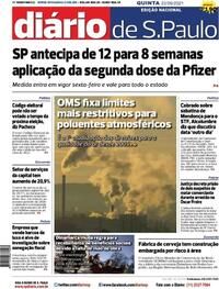 Capa do jornal Diário de São Paulo 23/09/2021