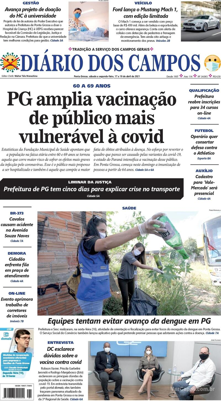 Capa do jornal Diário dos Campos 17/04/2021