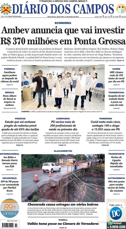 Capa do jornal Diário dos Campos 21/01/2021