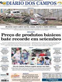 Capa do jornal Diário dos Campos 15/10/2021