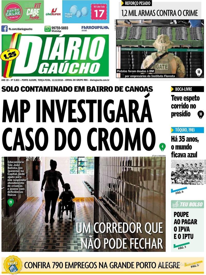 Capa Diário Gaúcho 2018-12-11