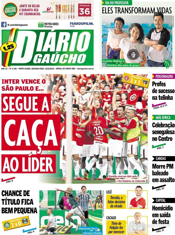 Capa Diário Gaúcho 2018-10-15