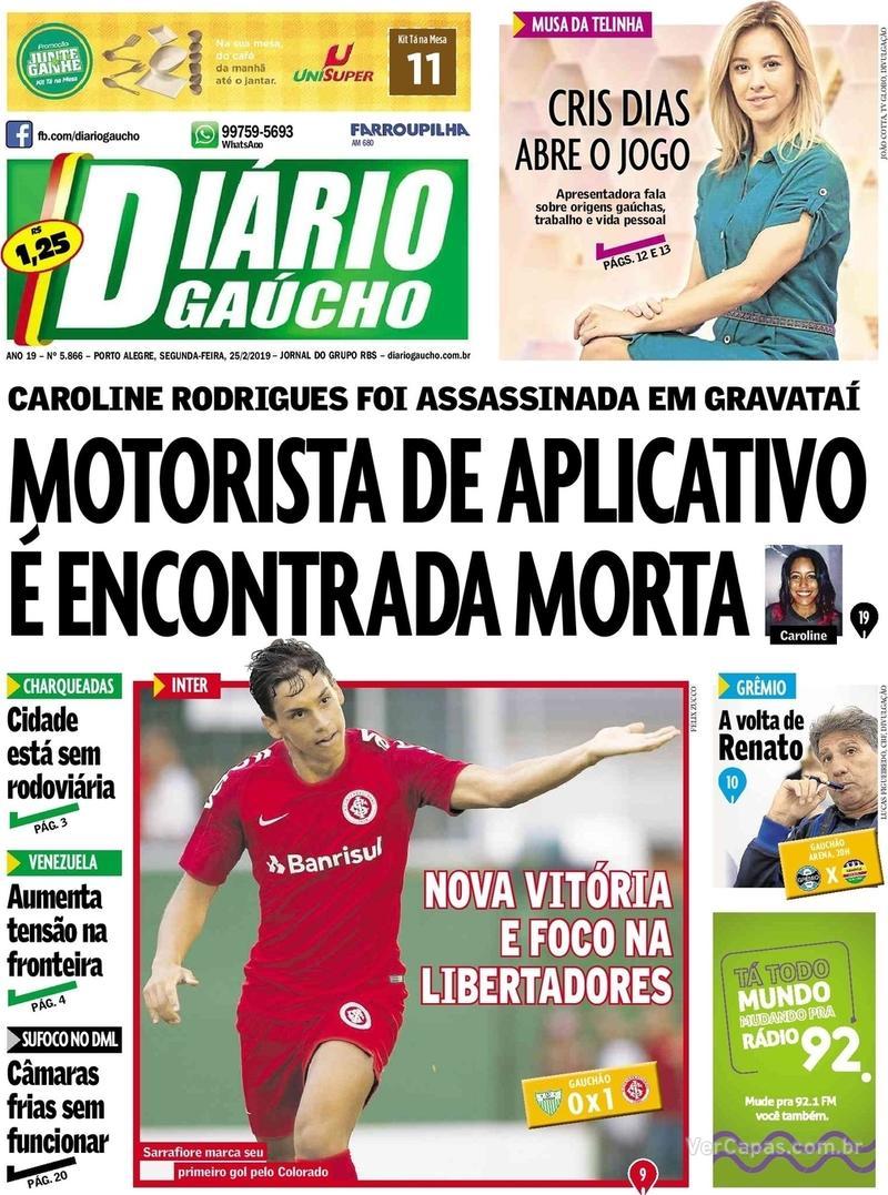 ba312c60fe Capa Diário Gaúcho 2019-02-25