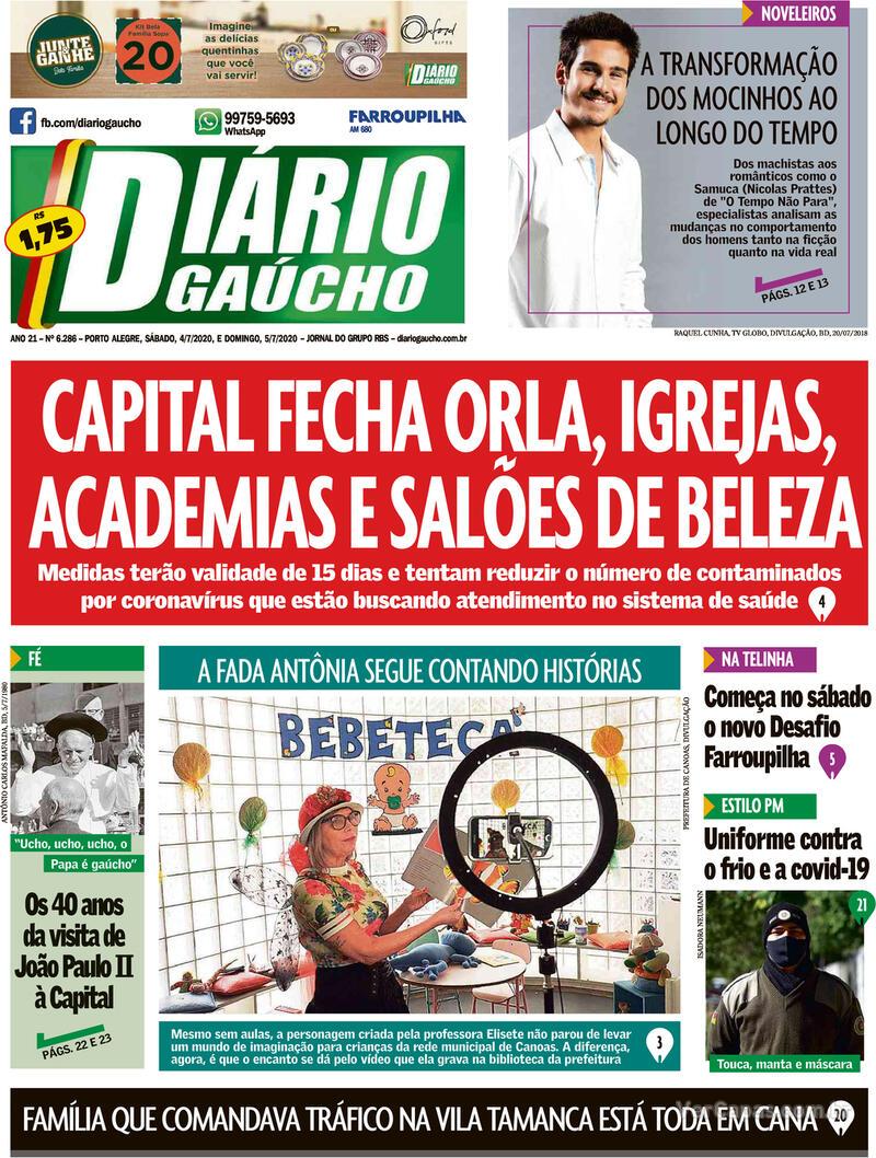 Capa do jornal Diário Gaúcho 04/07/2020
