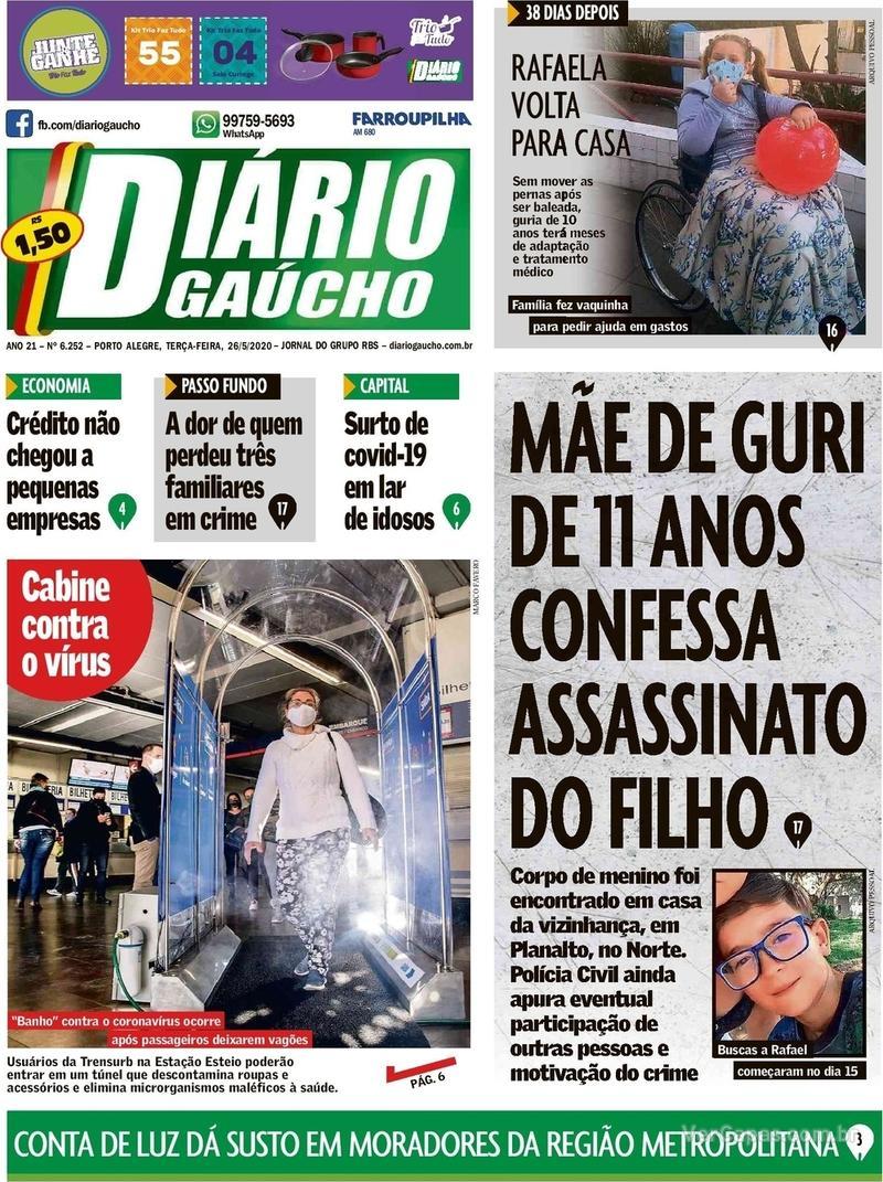 Capa do jornal Diário Gaúcho 26/05/2020