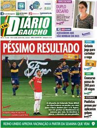 Capa do jornal Diário Gaúcho 03/12/2020