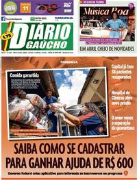Capa do jornal Diário Gaúcho 04/04/2020