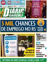 Capa do jornal Diário Gaúcho 20/10/2020