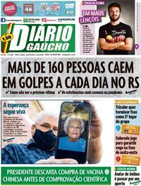 Capa do jornal Diário Gaúcho 22/10/2020