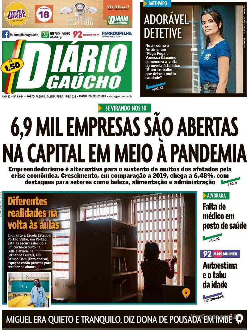Capa do jornal Diário Gaúcho 05/08/2021