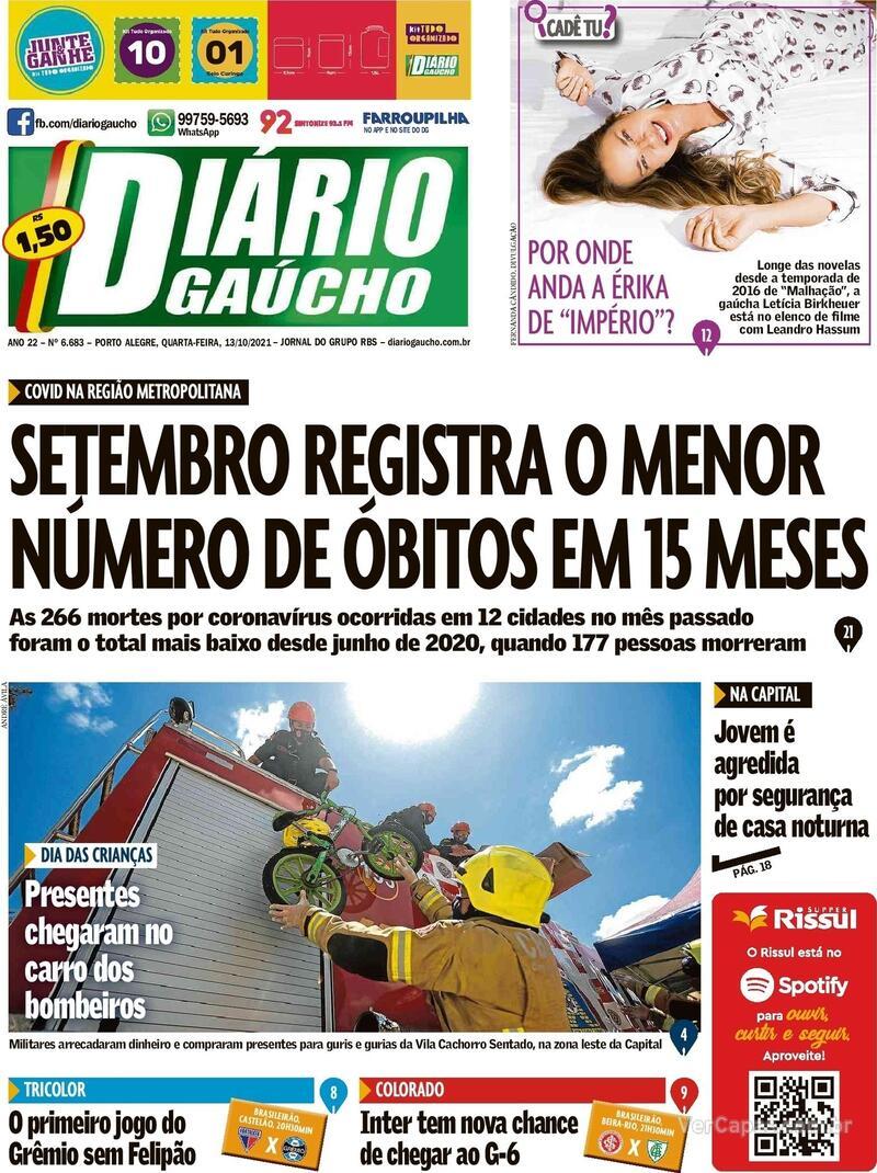 Capa do jornal Diário Gaúcho 15/10/2021