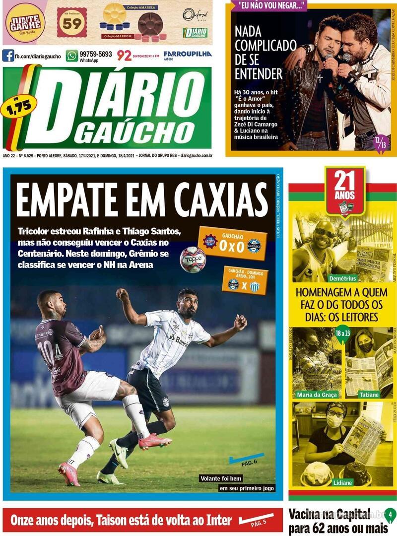 Capa do jornal Diário Gaúcho 17/04/2021
