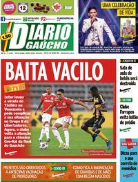 Capa do jornal Diário Gaúcho 15/05/2021