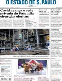 Capa do jornal Estadão 03/12/2020