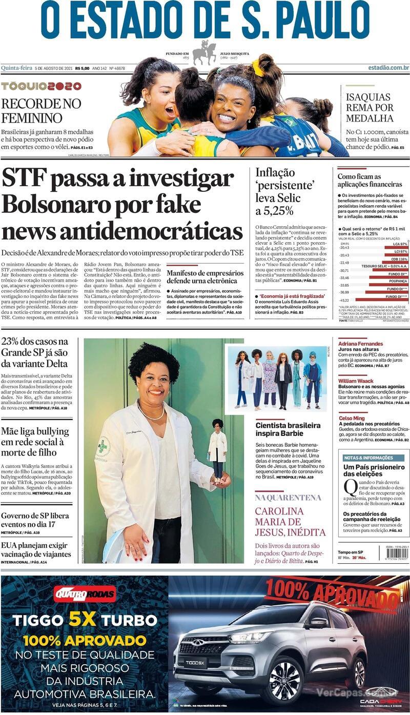 Capa do jornal Estadão 05/08/2021