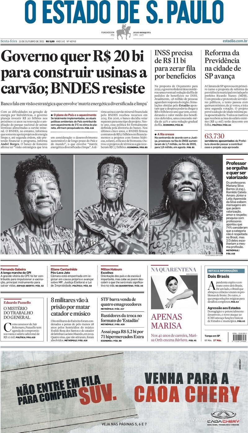 Capa do jornal Estadão 15/10/2021