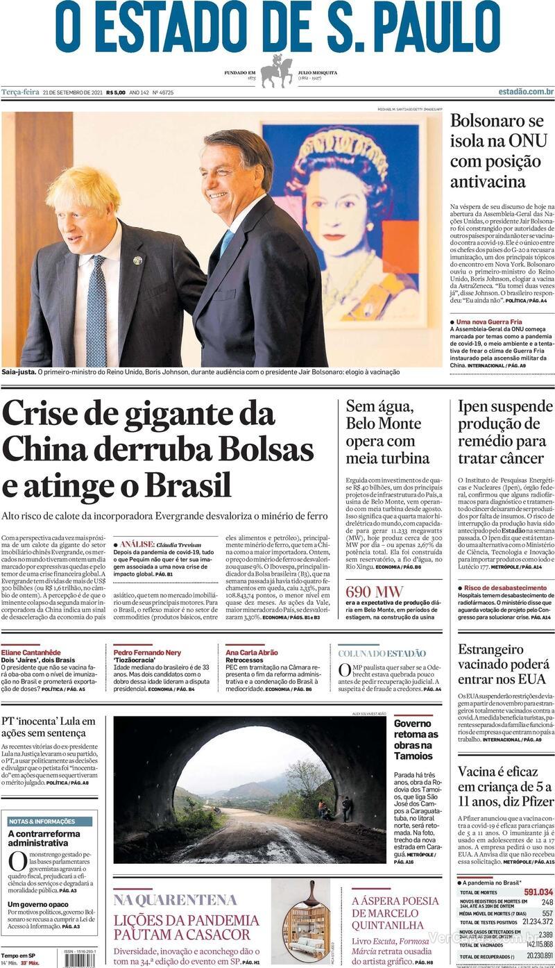 Capa do jornal Estadão 21/09/2021