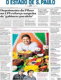 Capa do jornal Estadão 14/05/2021
