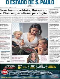 Capa do jornal Estadão 15/05/2021
