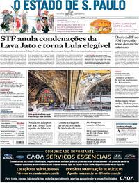 Capa do jornal Estadão 16/04/2021