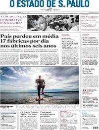 Capa do jornal Estadão 17/01/2021