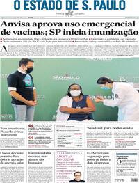 Capa do jornal Estadão 18/01/2021