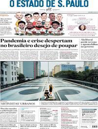 Capa do jornal Estadão 28/02/2021