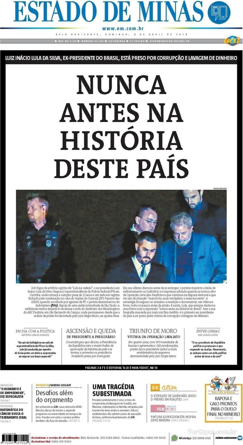 Capa Estado de Minas 2018-04-08