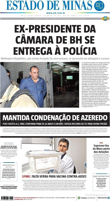 Capa Estado de Minas 2018-04-25