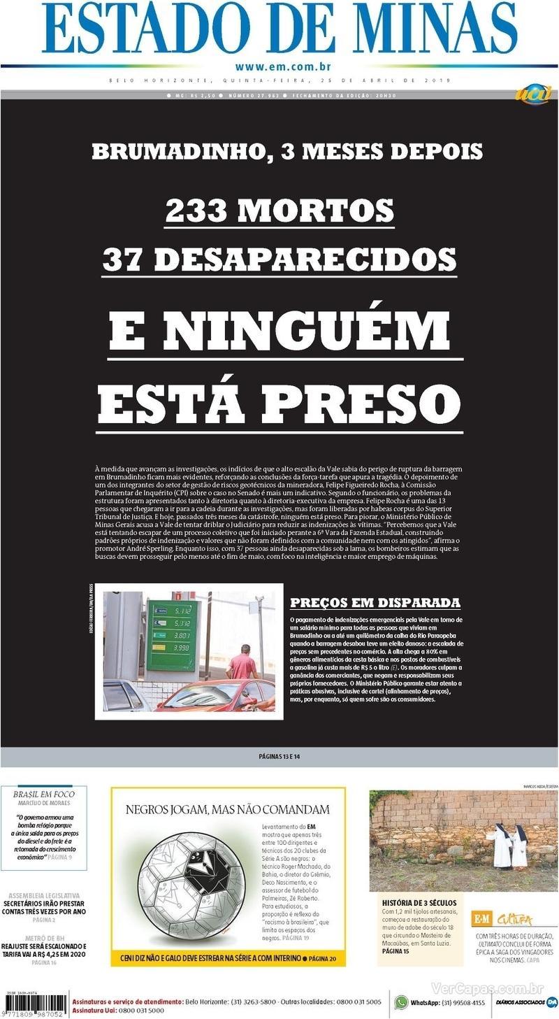 Capa Estado de Minas 2019-04-25